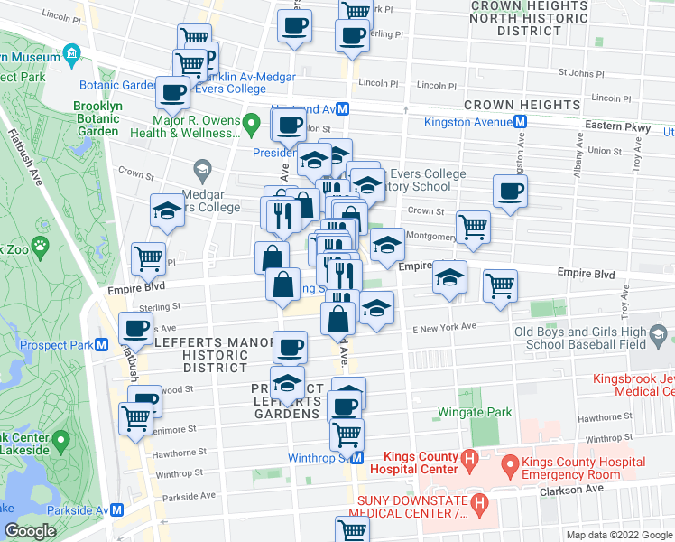 map of restaurants, bars, coffee shops, grocery stores, and more near Nostrand Ave & Empire Blvd in Brooklyn