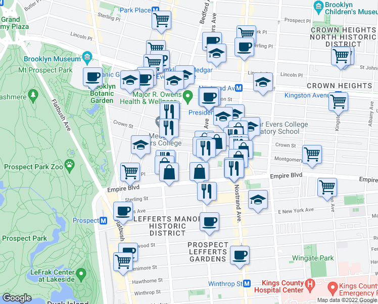 map of restaurants, bars, coffee shops, grocery stores, and more near Montgomery St & Ludlam Pl in Brooklyn