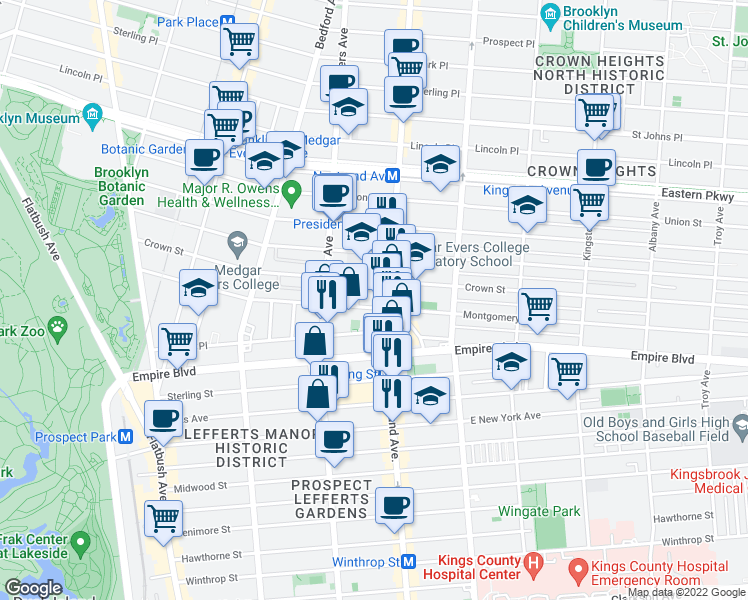 map of restaurants, bars, coffee shops, grocery stores, and more near 958 Nostrand Avenue in Brooklyn