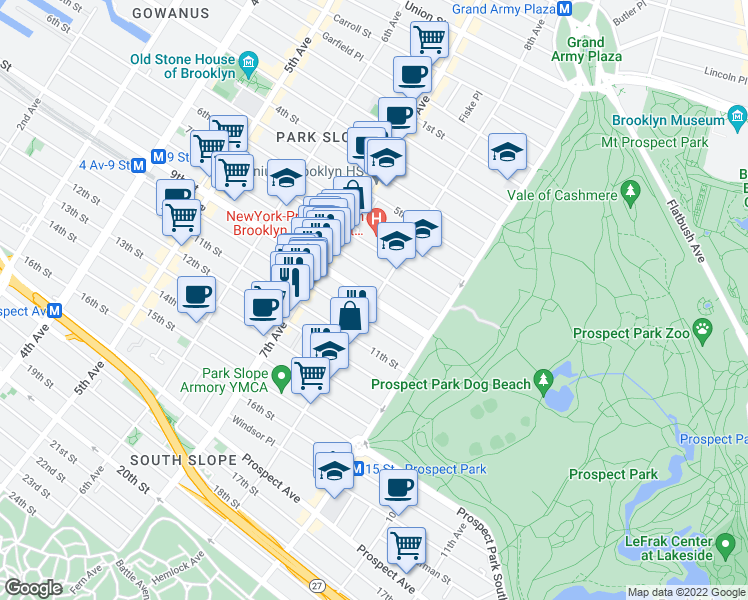 map of restaurants, bars, coffee shops, grocery stores, and more near 8th Avenue in Brooklyn