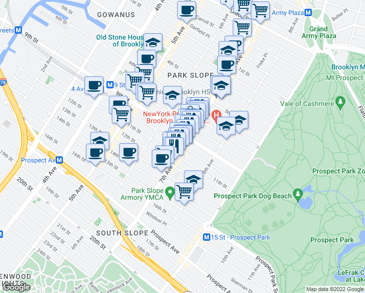 map of restaurants, bars, coffee shops, grocery stores, and more near 7th Avenue & 10th Street in Brooklyn