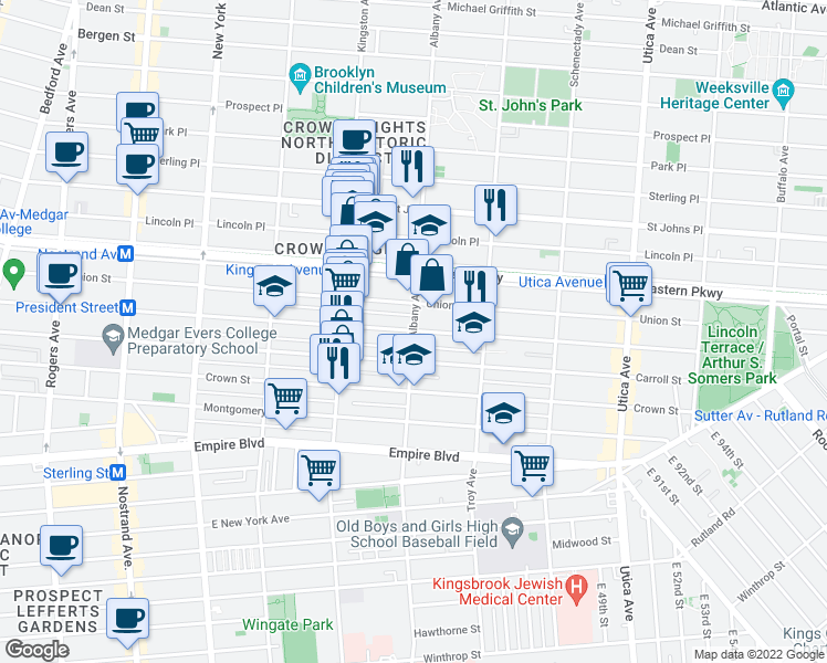 map of restaurants, bars, coffee shops, grocery stores, and more near Albany Ave & President St in Brooklyn
