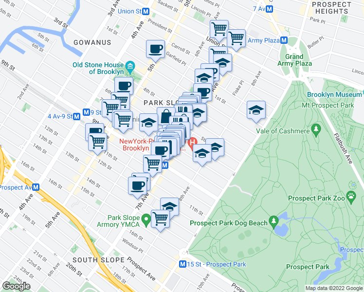 map of restaurants, bars, coffee shops, grocery stores, and more near 4th Street in Brooklyn