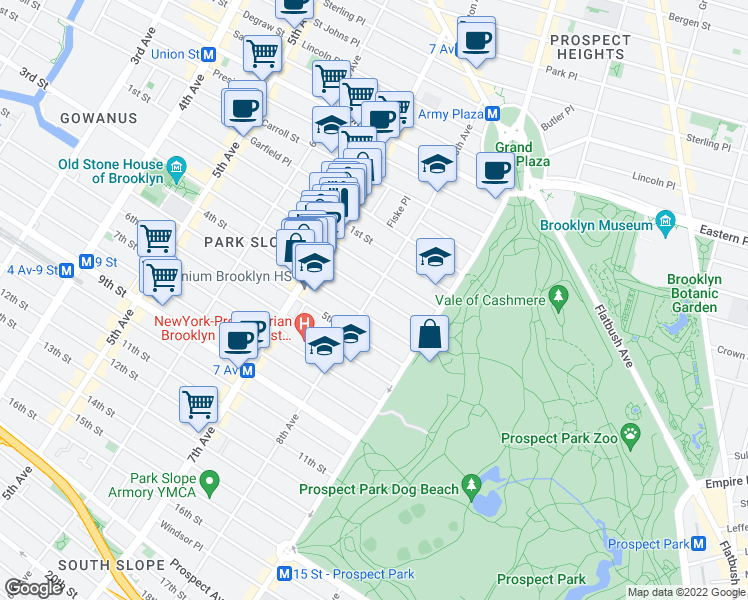 map of restaurants, bars, coffee shops, grocery stores, and more near 305 8th Avenue in Brooklyn