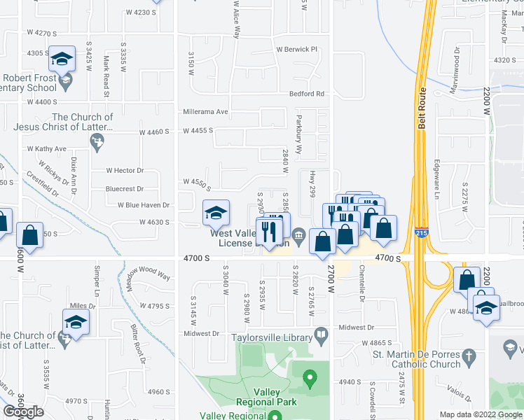 map of restaurants, bars, coffee shops, grocery stores, and more near 4612 S 2930 W in West Valley City