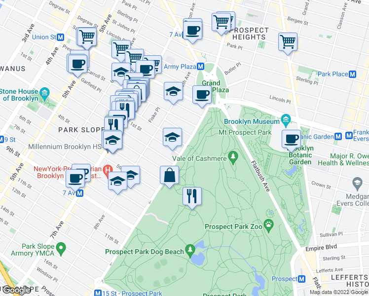 map of restaurants, bars, coffee shops, grocery stores, and more near 326 7th Avenue in Brooklyn