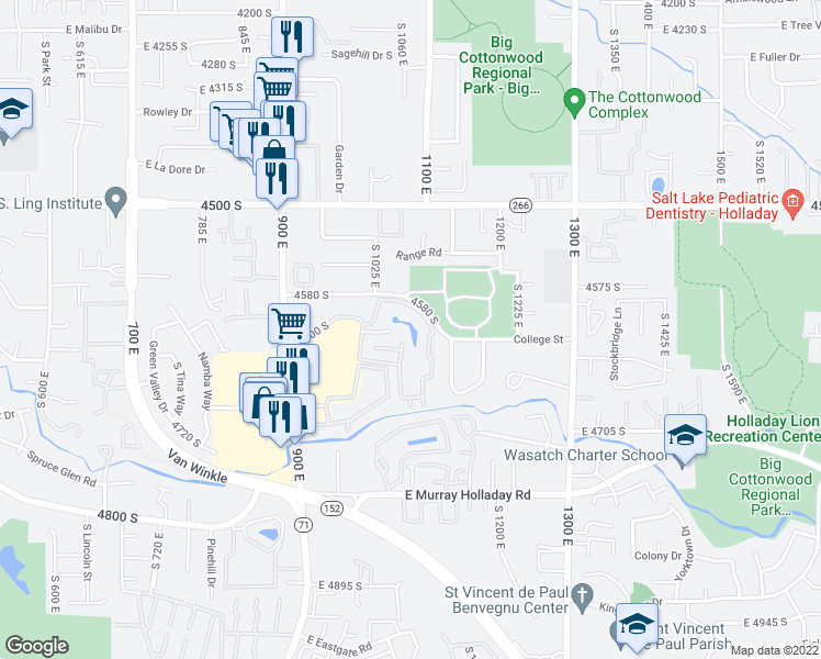map of restaurants, bars, coffee shops, grocery stores, and more near 4620 Quail Park Drive in Salt Lake City