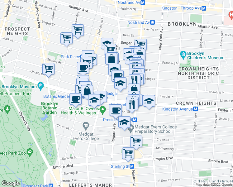 map of restaurants, bars, coffee shops, grocery stores, and more near Rogers Ave & Lincoln Pl in Brooklyn