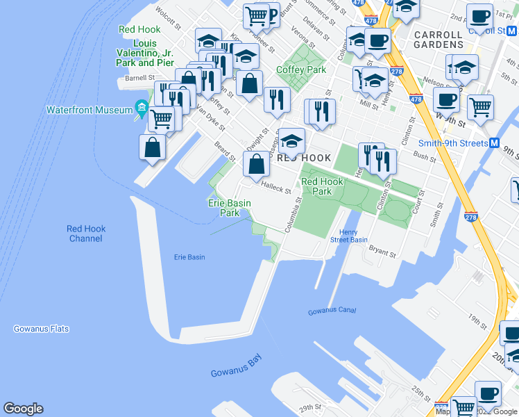 map of restaurants, bars, coffee shops, grocery stores, and more near 2 in Brooklyn