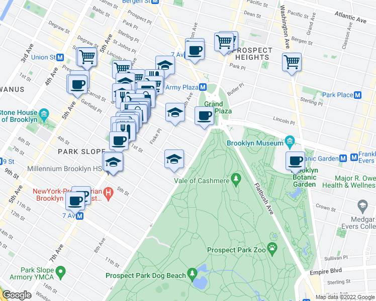 map of restaurants, bars, coffee shops, grocery stores, and more near 477-545 7th Street in Brooklyn