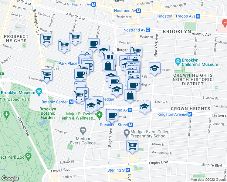 map of restaurants, bars, coffee shops, grocery stores, and more near Rogers Ave & St Johns Pl in Brooklyn
