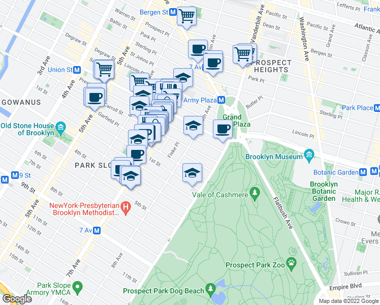 map of restaurants, bars, coffee shops, grocery stores, and more near 125 8th Avenue in Brooklyn