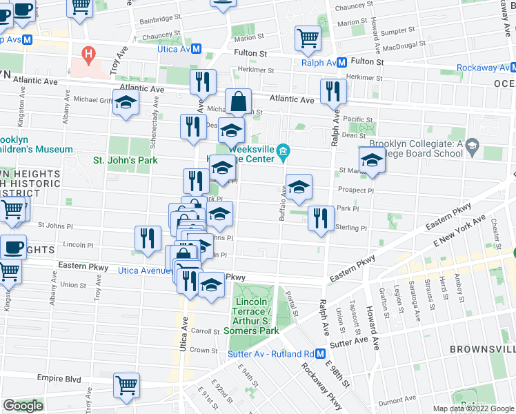map of restaurants, bars, coffee shops, grocery stores, and more near 1505 Park Place in Brooklyn