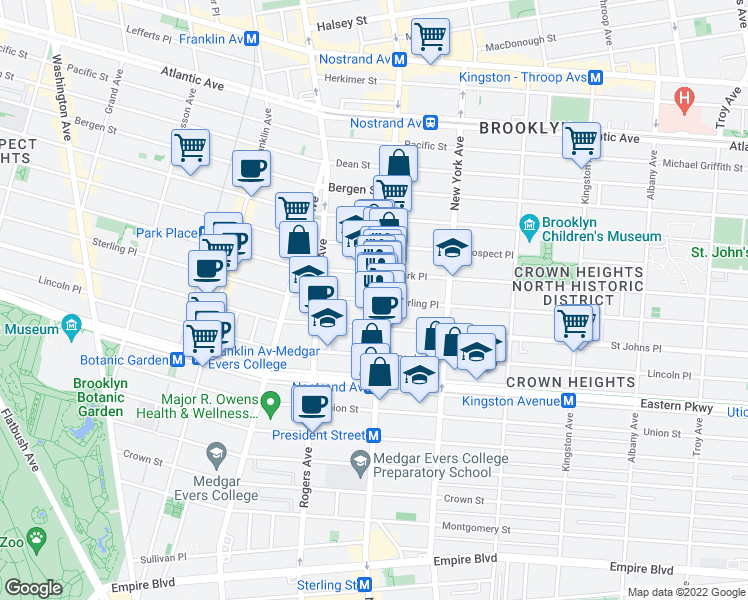 map of restaurants, bars, coffee shops, grocery stores, and more near 843 Sterling Place in Brooklyn