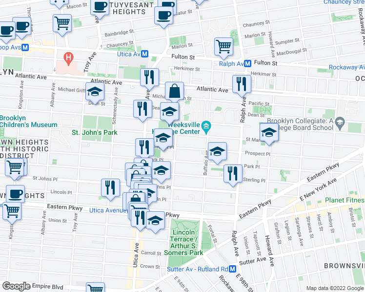 map of restaurants, bars, coffee shops, grocery stores, and more near 1487 Prospect Place in Brooklyn