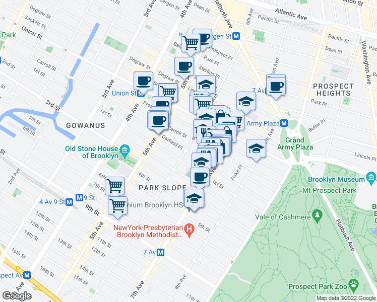 map of restaurants, bars, coffee shops, grocery stores, and more near Garfield Place in Brooklyn