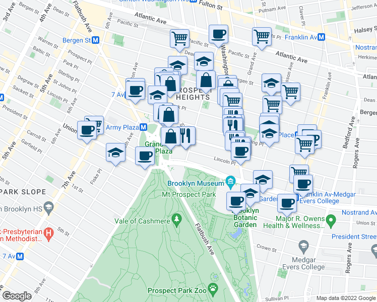 map of restaurants, bars, coffee shops, grocery stores, and more near Lincoln Place in Brooklyn