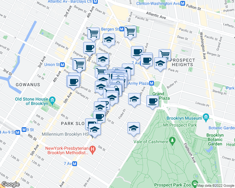 map of restaurants, bars, coffee shops, grocery stores, and more near 106 7th Avenue in Brooklyn