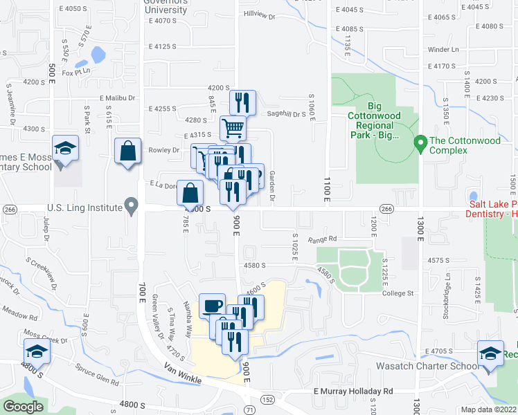map of restaurants, bars, coffee shops, grocery stores, and more near 4501-4529 South 950 East Street in Salt Lake City