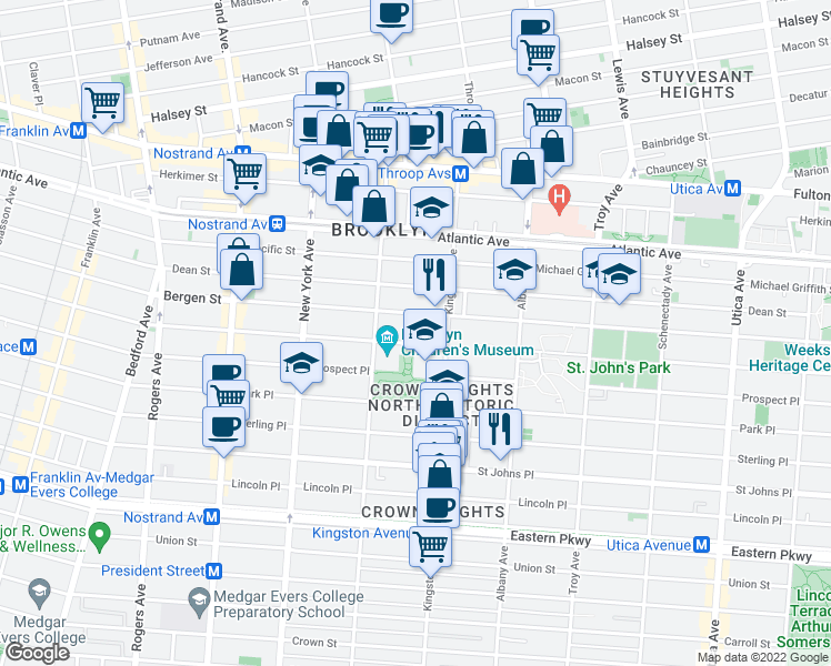 map of restaurants, bars, coffee shops, grocery stores, and more near 871 Saint Marks Avenue in Brooklyn