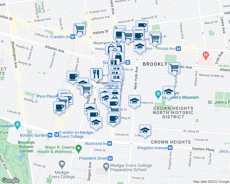 map of restaurants, bars, coffee shops, grocery stores, and more near Nostrand Ave & St Marks Ave in Brooklyn
