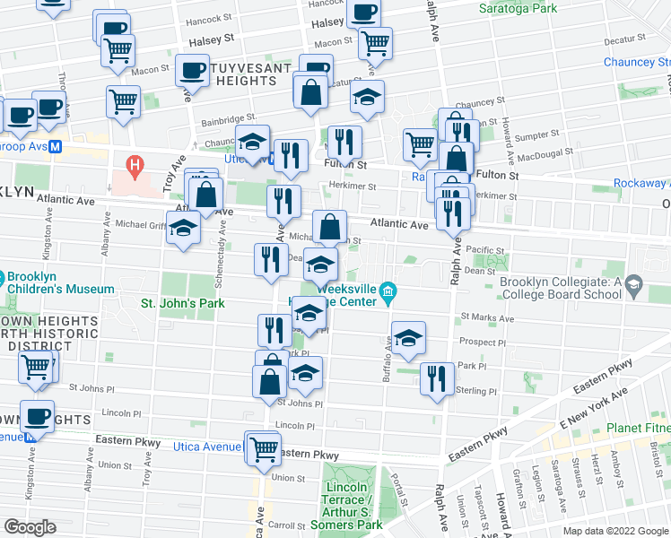 map of restaurants, bars, coffee shops, grocery stores, and more near 110 Rochester Avenue in Brooklyn