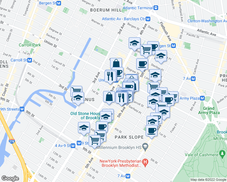 map of restaurants, bars, coffee shops, grocery stores, and more near 578 Carroll Street in Brooklyn