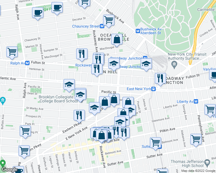 map of restaurants, bars, coffee shops, grocery stores, and more near 2290 Atlantic Avenue in Brooklyn