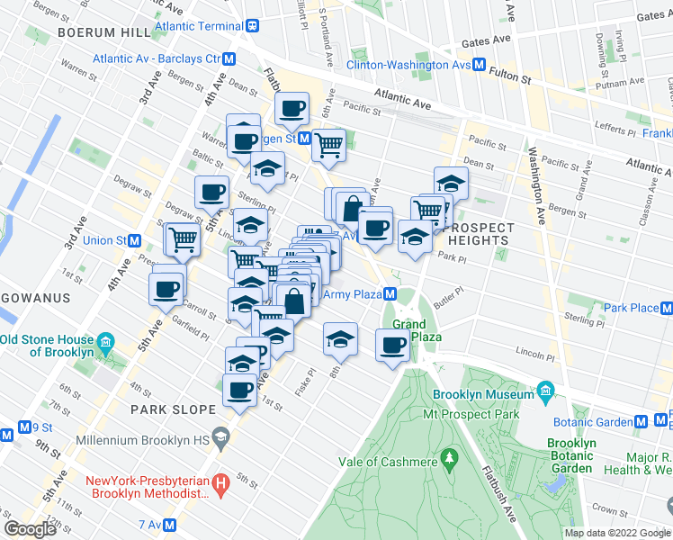 map of restaurants, bars, coffee shops, grocery stores, and more near 186 Saint Johns Place in Brooklyn
