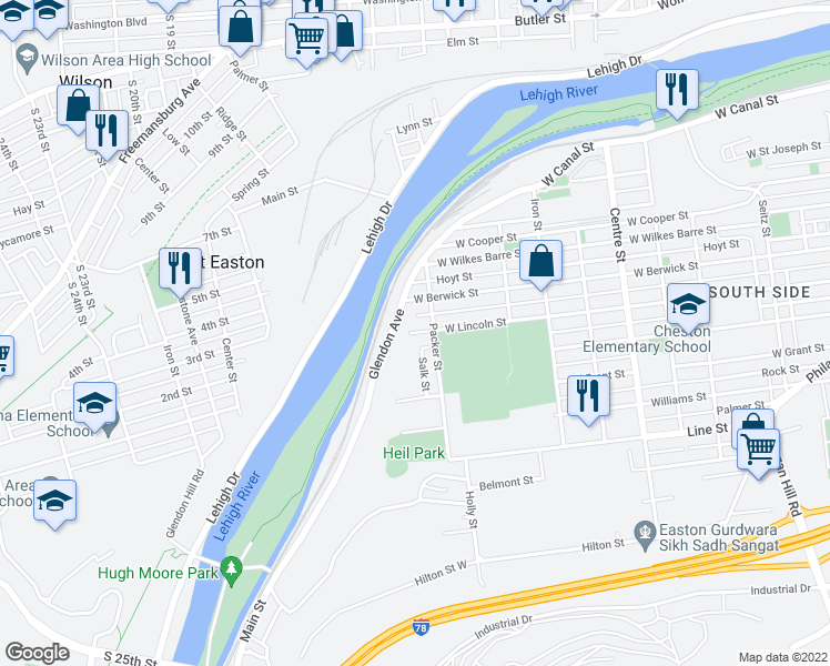 map of restaurants, bars, coffee shops, grocery stores, and more near Lincoln Street in Easton