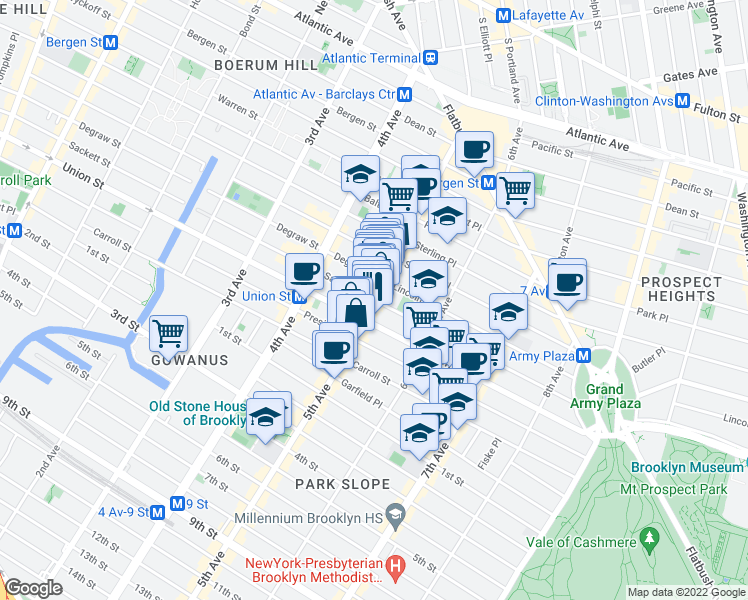 map of restaurants, bars, coffee shops, grocery stores, and more near 5th Ave & Sackett St in Brooklyn