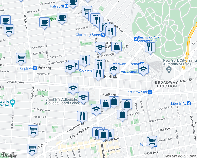 map of restaurants, bars, coffee shops, grocery stores, and more near 1278 Herkimer Street in Brooklyn