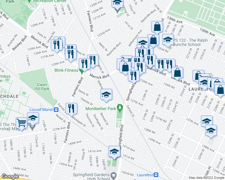 map of restaurants, bars, coffee shops, grocery stores, and more near 55 in Queens