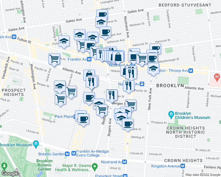map of restaurants, bars, coffee shops, grocery stores, and more near Bedford Avenue & Pacific Street in Brooklyn
