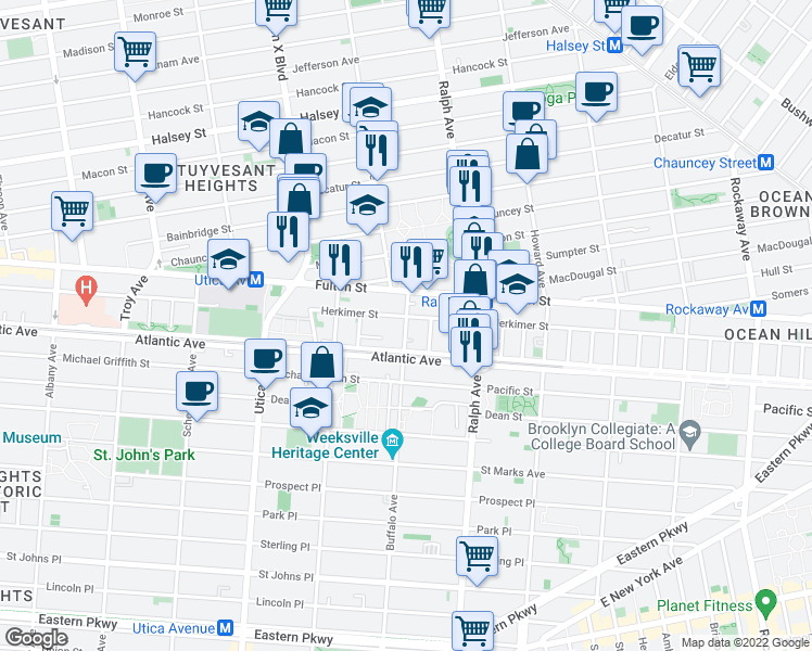 map of restaurants, bars, coffee shops, grocery stores, and more near 29 Buffalo Avenue in Brooklyn
