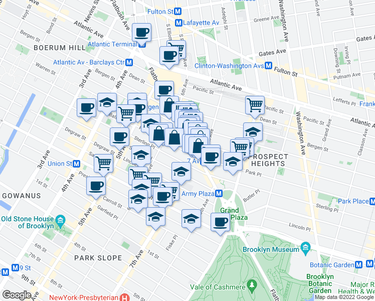 map of restaurants, bars, coffee shops, grocery stores, and more near 74 A 4th Avenue in Brooklyn