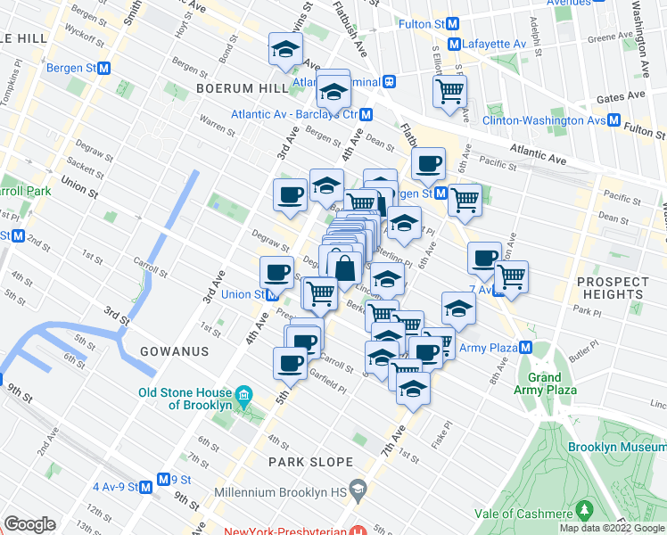 map of restaurants, bars, coffee shops, grocery stores, and more near 685 Degraw Street in Brooklyn