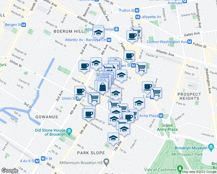 map of restaurants, bars, coffee shops, grocery stores, and more near 3 Saint Johns Place in Brooklyn
