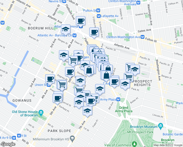 map of restaurants, bars, coffee shops, grocery stores, and more near Park Place in Brooklyn