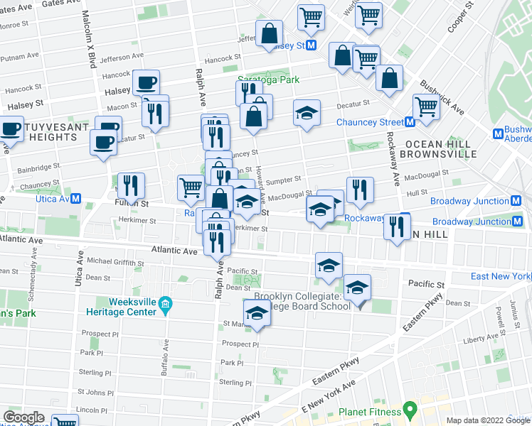 map of restaurants, bars, coffee shops, grocery stores, and more near Fulton Street & Howard Avenue in Brooklyn