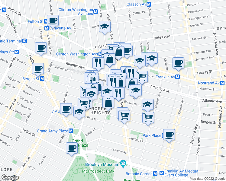 map of restaurants, bars, coffee shops, grocery stores, and more near Dean St & Underhill Ave in Brooklyn