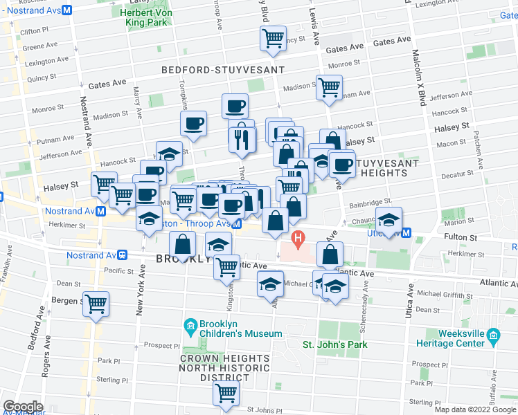 map of restaurants, bars, coffee shops, grocery stores, and more near 94 Decatur Street in Brooklyn