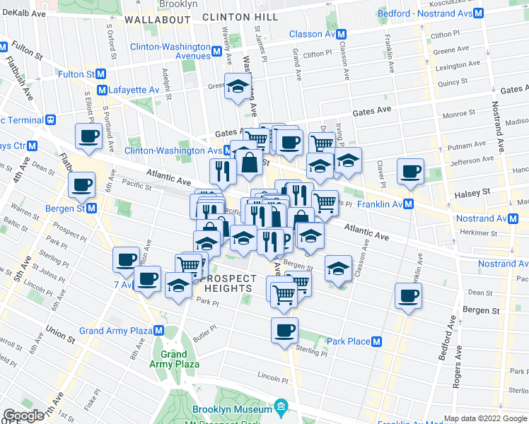 map of restaurants, bars, coffee shops, grocery stores, and more near Claver Place in Brooklyn