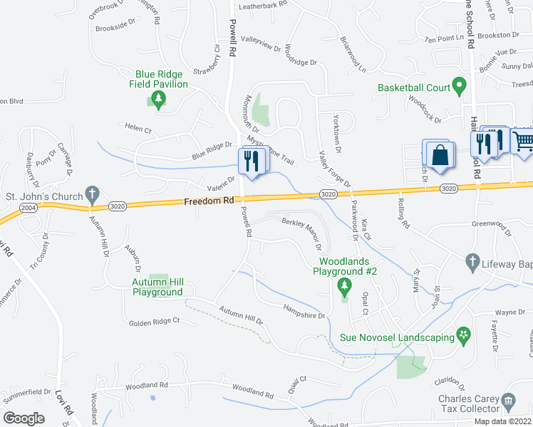 map of restaurants, bars, coffee shops, grocery stores, and more near 90 Berkley Manor Drive in Cranberry Township