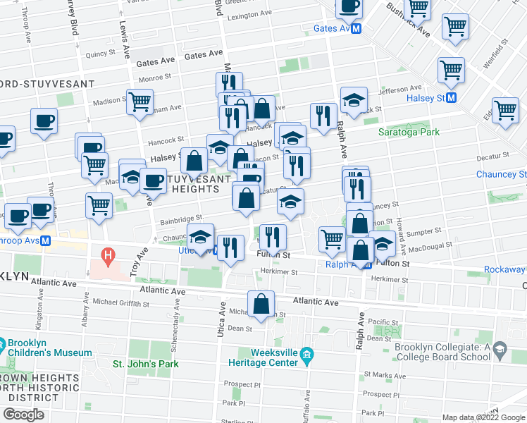 map of restaurants, bars, coffee shops, grocery stores, and more near 224 Bainbridge Street in Brooklyn