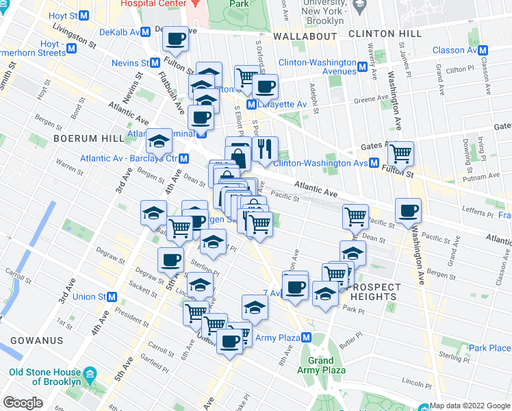 map of restaurants, bars, coffee shops, grocery stores, and more near Dean St & 6th Ave in Brooklyn