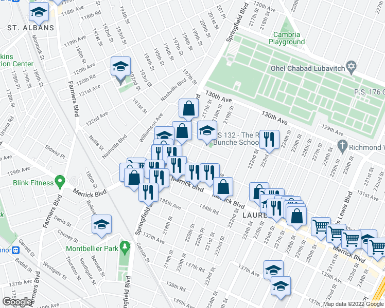 map of restaurants, bars, coffee shops, grocery stores, and more near 132-37 217th Street in Queens
