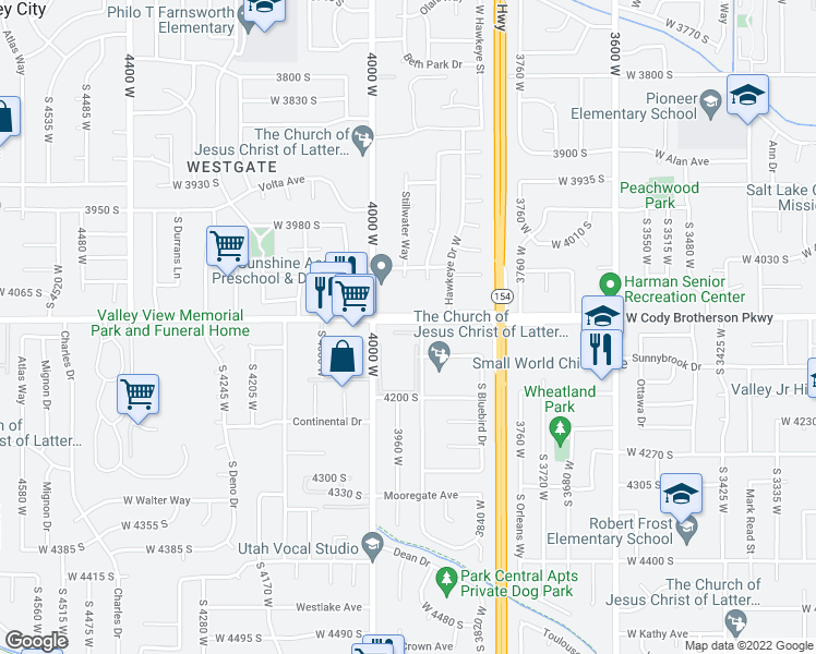 map of restaurants, bars, coffee shops, grocery stores, and more near 3901-3999 Emerald Green Drive in West Valley City
