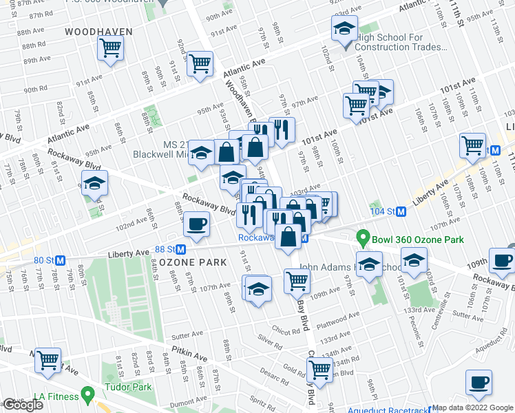 map of restaurants, bars, coffee shops, grocery stores, and more near 93rd Street in Queens