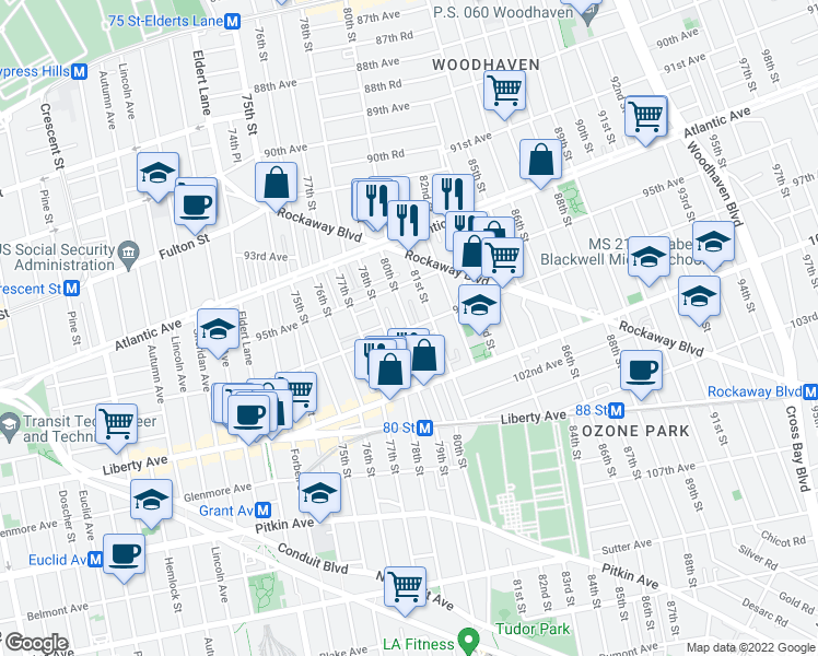 map of restaurants, bars, coffee shops, grocery stores, and more near 80th Street in Queens